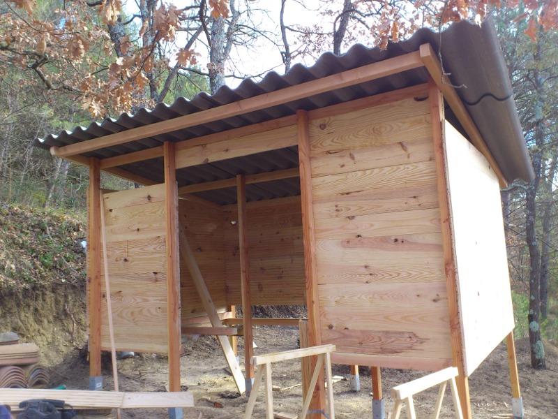 Montage des murs et de la toiture.