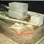 Fondations, ferraillage avec les anciens tubes de balançoire
